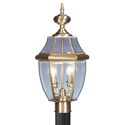 nice Livex Lighting 2254 2 Light 120W Post Light with Candelabra Bulb Base and Clear,