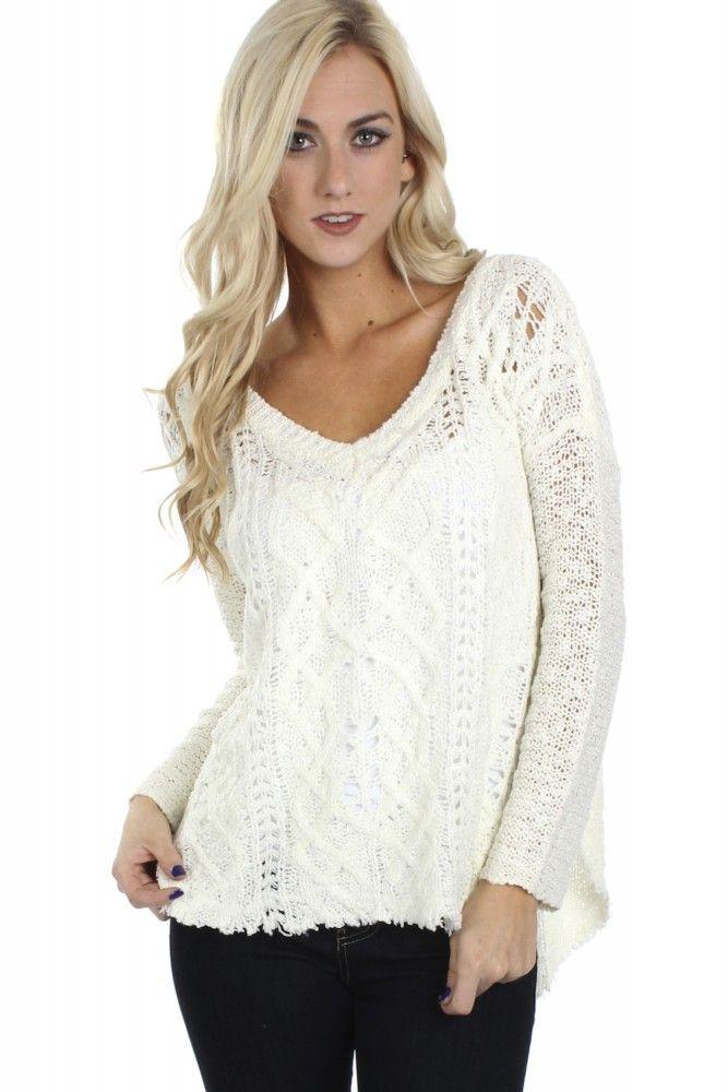 Frayed Knit Sweater  ($34.99) #sophieandtrey #freeshipping #winterfashion #cuteoutfit #ootd #frayedknitsweater #knitswater #creamsweater #whitesweater #cutesweater #wintersweater
