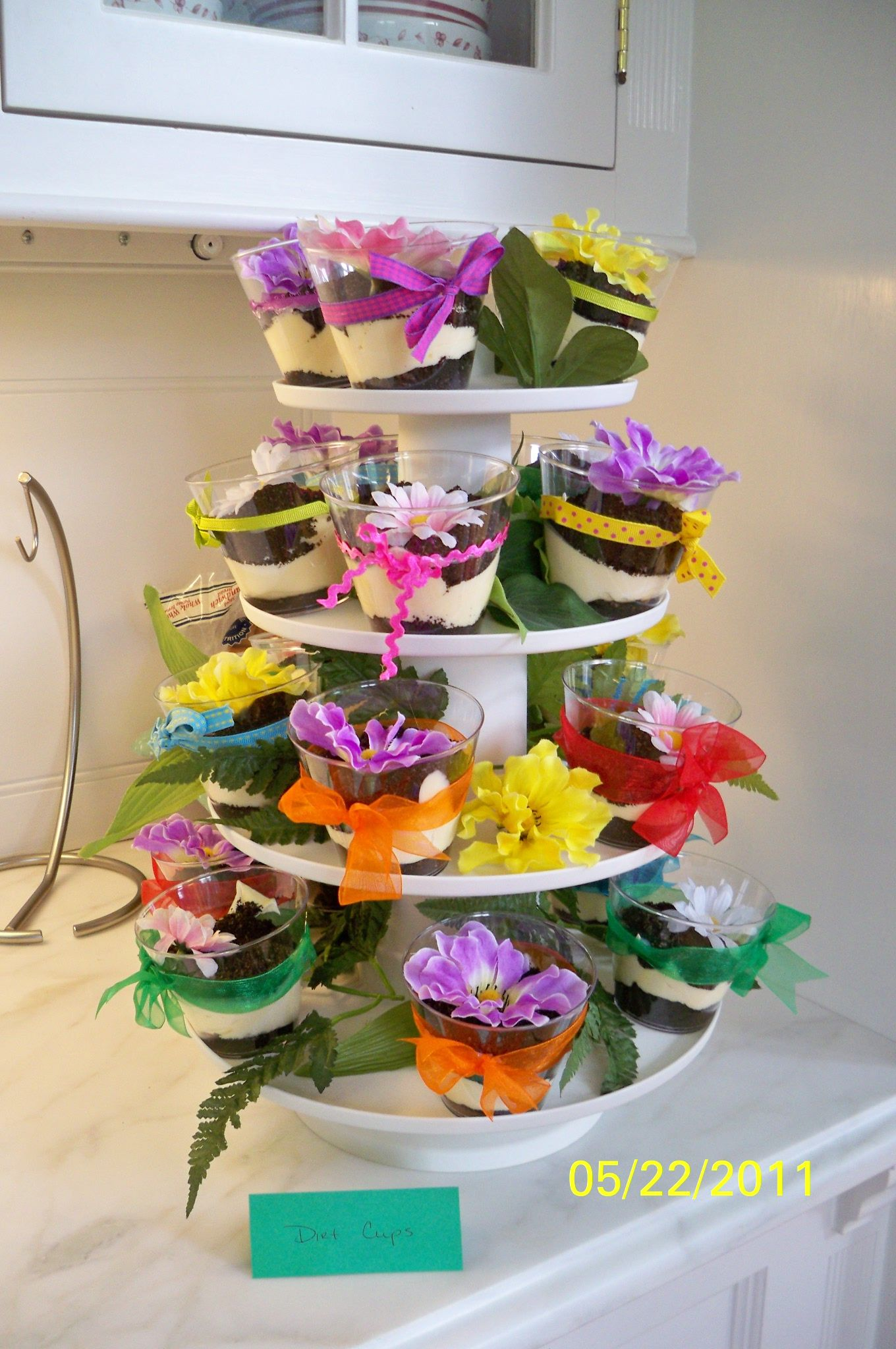 I decorated dirt cups for a gardenthemed spring bridal