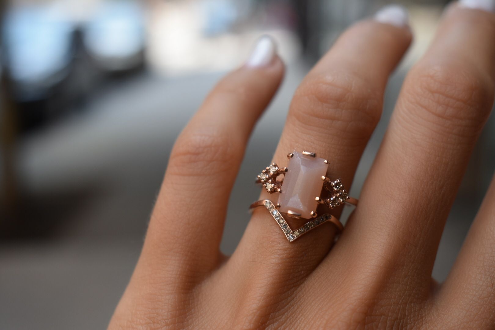 NEW 18K Rose Gold GF Big Champagne Crystal Fashion Ring Women/'s Gift Stunning