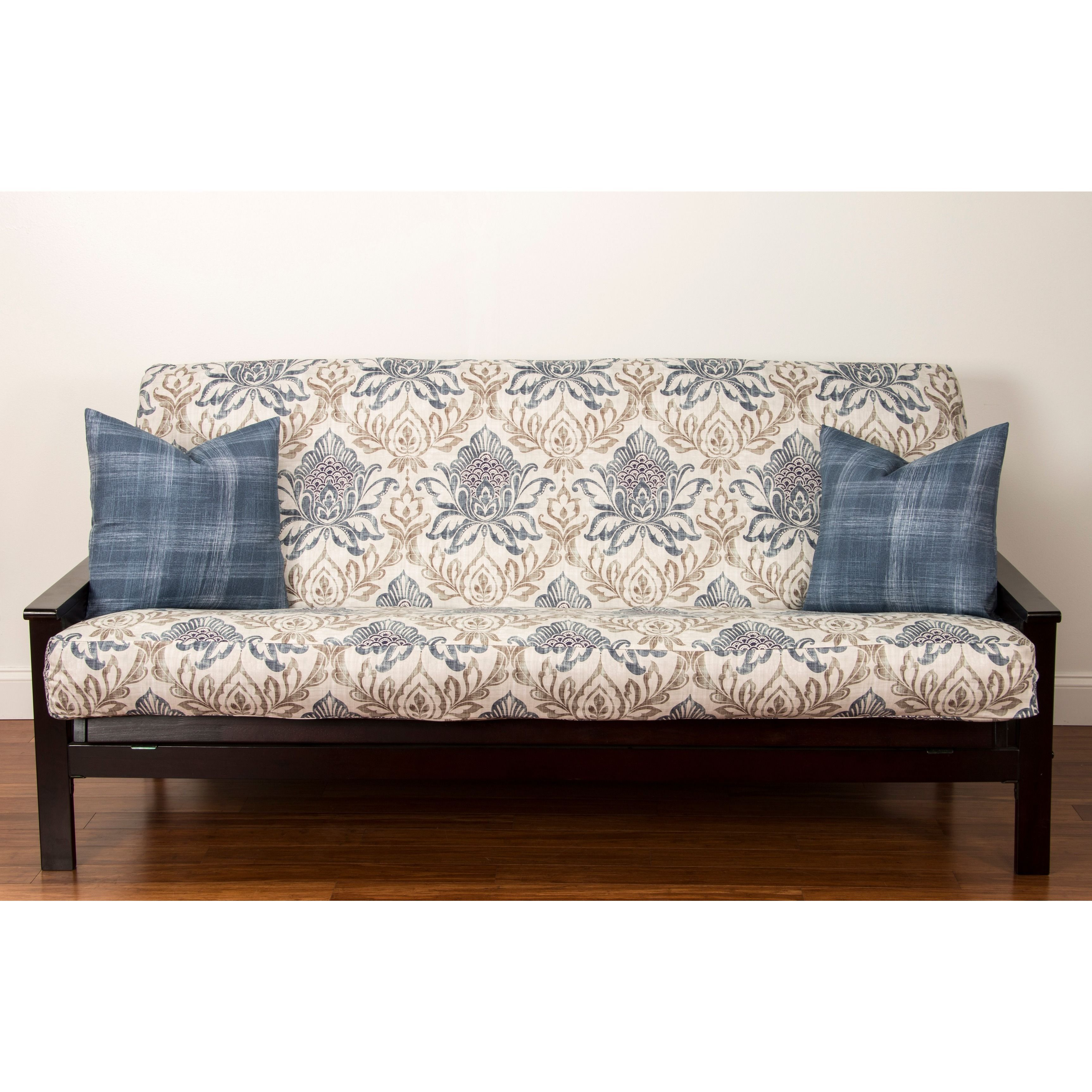 Keep Your Futon Cushion Protected With This Colorful Cover By Genoa Baroque The Blue Tan And Off White Is Machine Washable Features A