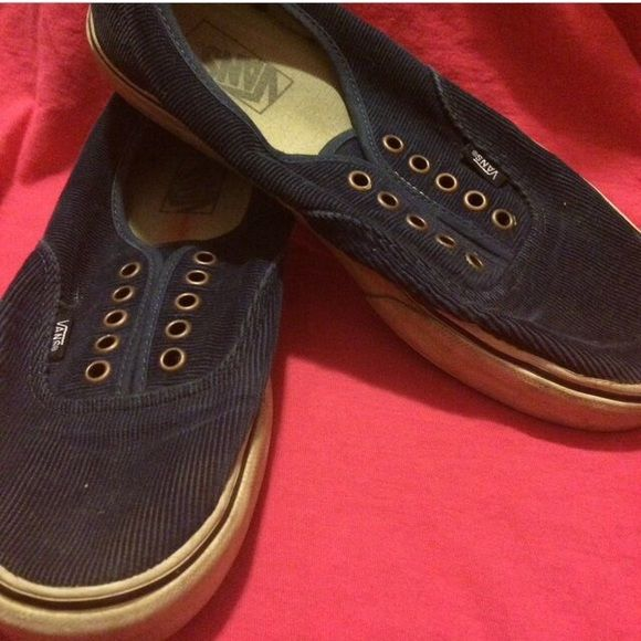 Blue corduroy vans No laces, but can be bought for cheap on the vans website. Considering all offers. Vans Shoes Sneakers
