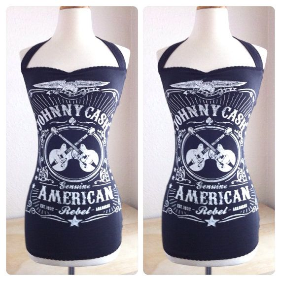 JOHNNY CASH Shirt, Black Rockabilly Halter top, Sexy Country Western Punk, Pin Up Top Women's Sizes xs, small, medium, large or xl on Etsy, $67.00 CAD