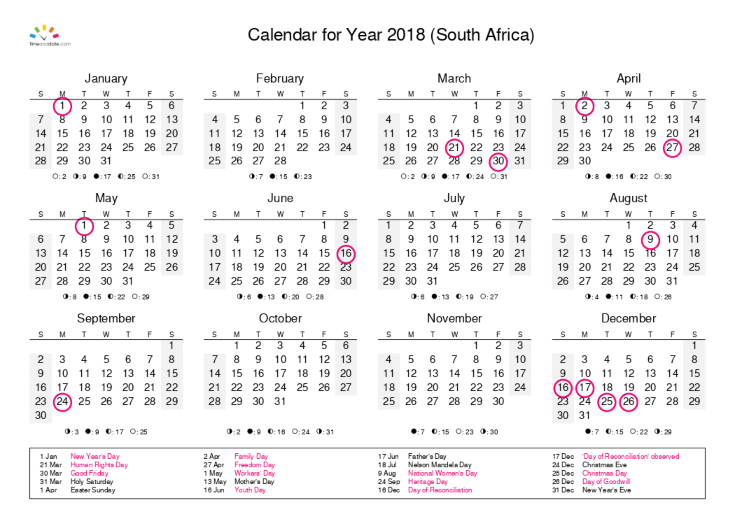 Printable Calendar 2018 For South Africa Pdf Calendar Printable Calendar Pdf Islamic Calendar