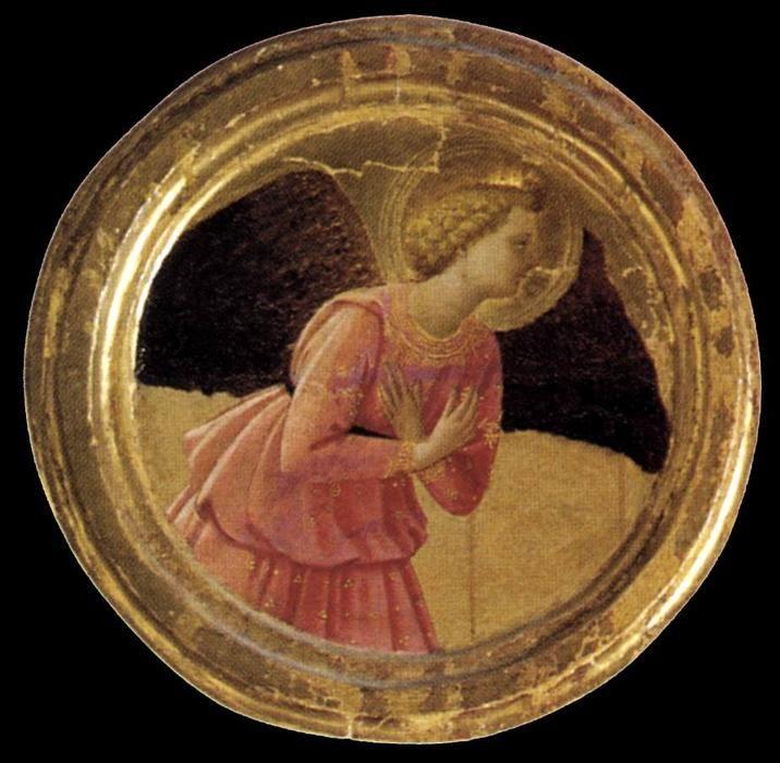 Tondo dell'Annunciazione del  Trittico (dettaglio), di Fra Angelico (1395-1455, Italy) Il Trittico di Cortona è un dipinto di Beato Angelico, tempera su tavola (218x240 cm), databile al 1436-1437 e conservato nel Museo Diocesano di Cortona.