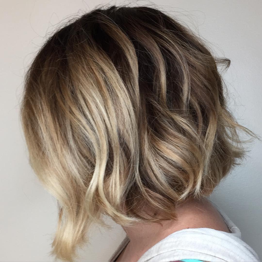 blonde balayage short soft undercut bob messy lob