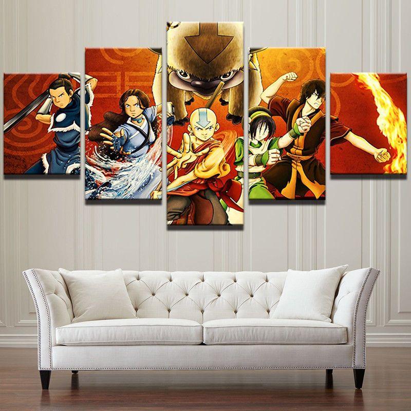 5pcs Avatar The Last Airbender Anime Painting Canvas Wall Art Poster Home Decor Ebay Living Wall Art Decor Wall Art Prints