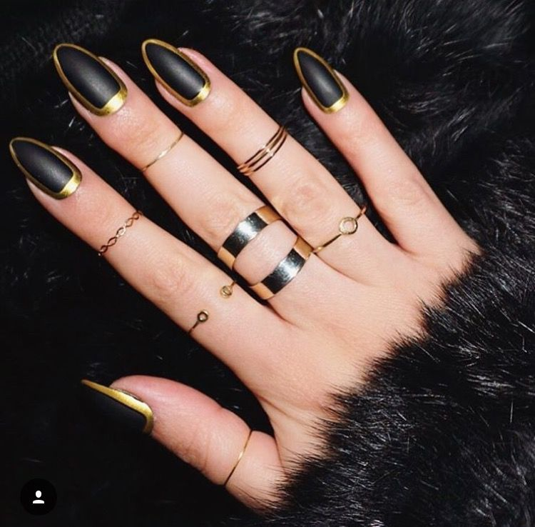 This year is all about recreating amazing trends using black and gold nail  designs. These two artistic colours go with all of your outfits and style! - Try With Thinner Gold Outline And Navy Blue Nail Design