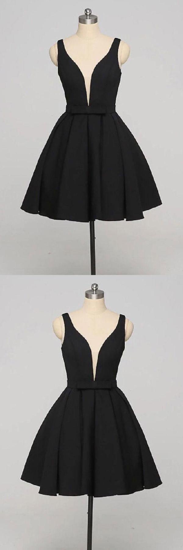 Vneck black seve homecoming dresses pinterest