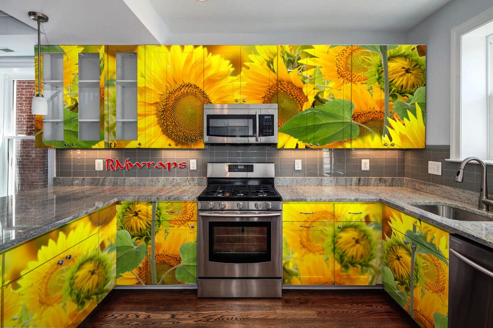 Kitchen Cabinets Wrap Colors Sunflowers Jpg Kitchen