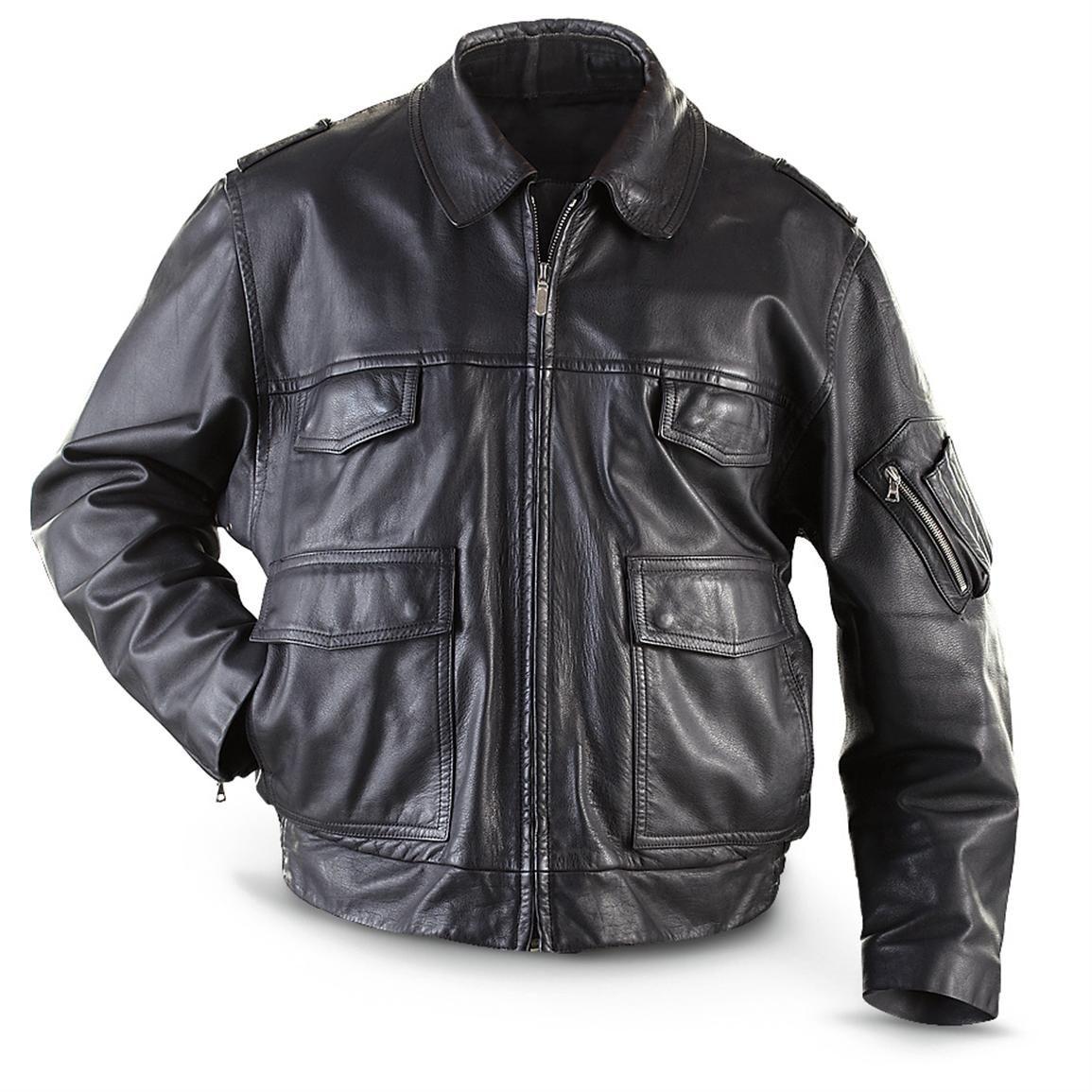 ae829f8a14b Used German Military Surplus Leather Police Jacket