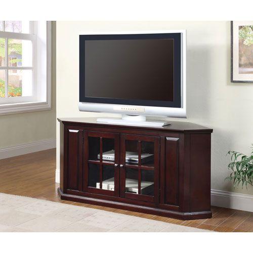 55 Inch Two Door Corner Tv Stand Corner Tv Stand Corner Tv Stands Home Entertainment Furniture
