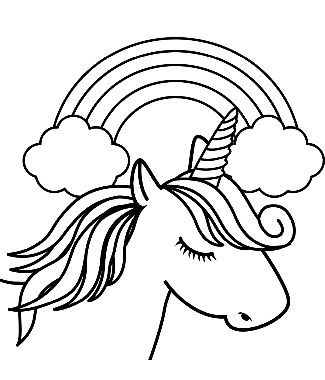 Unicorn Head In Front Of Rainbow Page Unicorn Coloring Pages Emoji Coloring Pages Coloring Pages