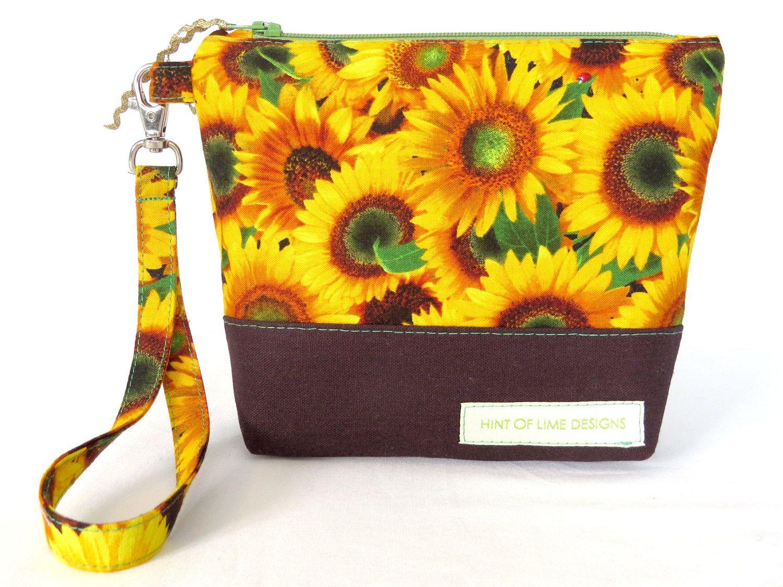 SMALL Artisan HOLD IT Bag Sunflowers / Chocolate Linen