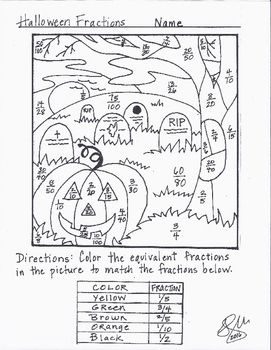 Halloween Fraction Coloring Sheet Coloring Sheets Fractions Color