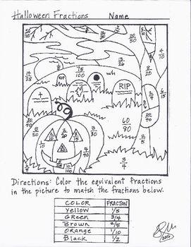 Halloween Fraction Coloring Sheet Halloween Fractions