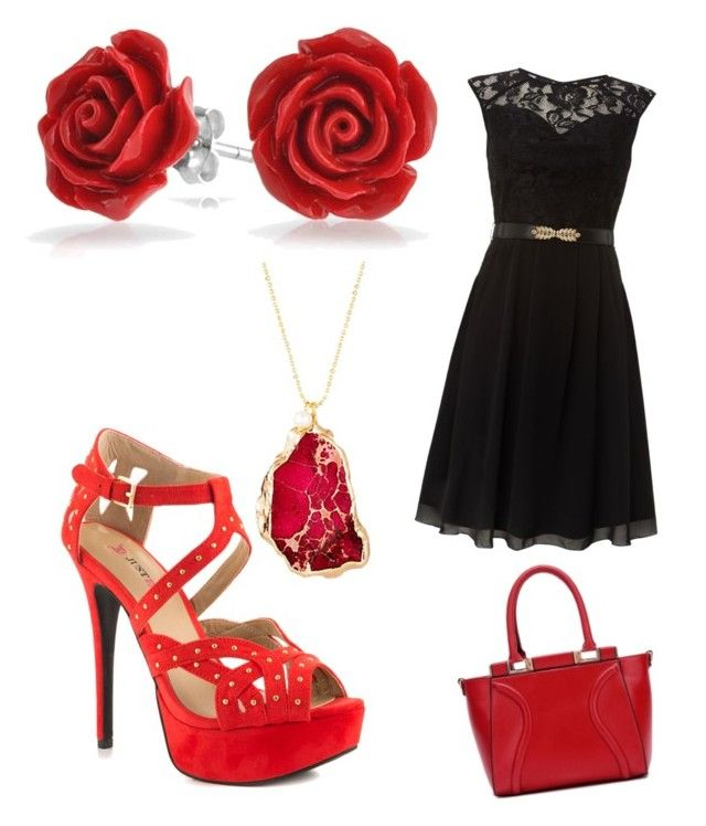 """red"" by amberromance ❤ liked on Polyvore featuring Bling Jewelry, Little Mistress, JustFab and Janna Conner"