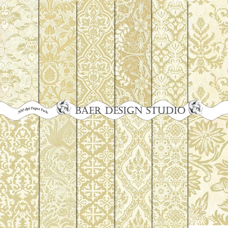 Damask digital papergold and ivory digital paper digital paper