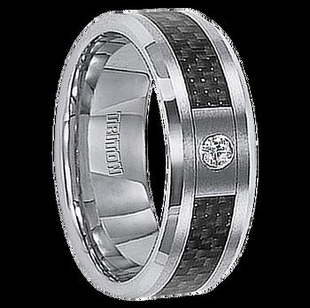 .08 cwt Genuine Diamond Wedding Band White Tungsten