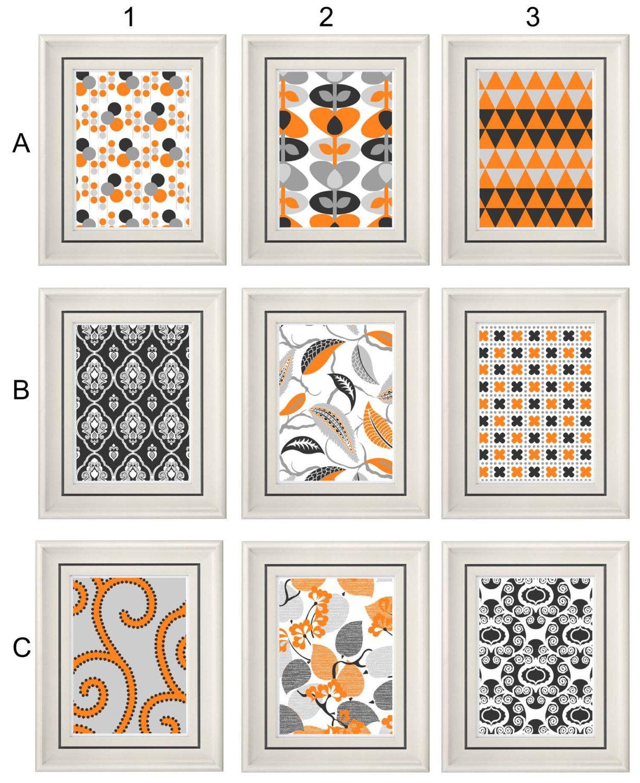 Set of three modern orange wall art any x print set home