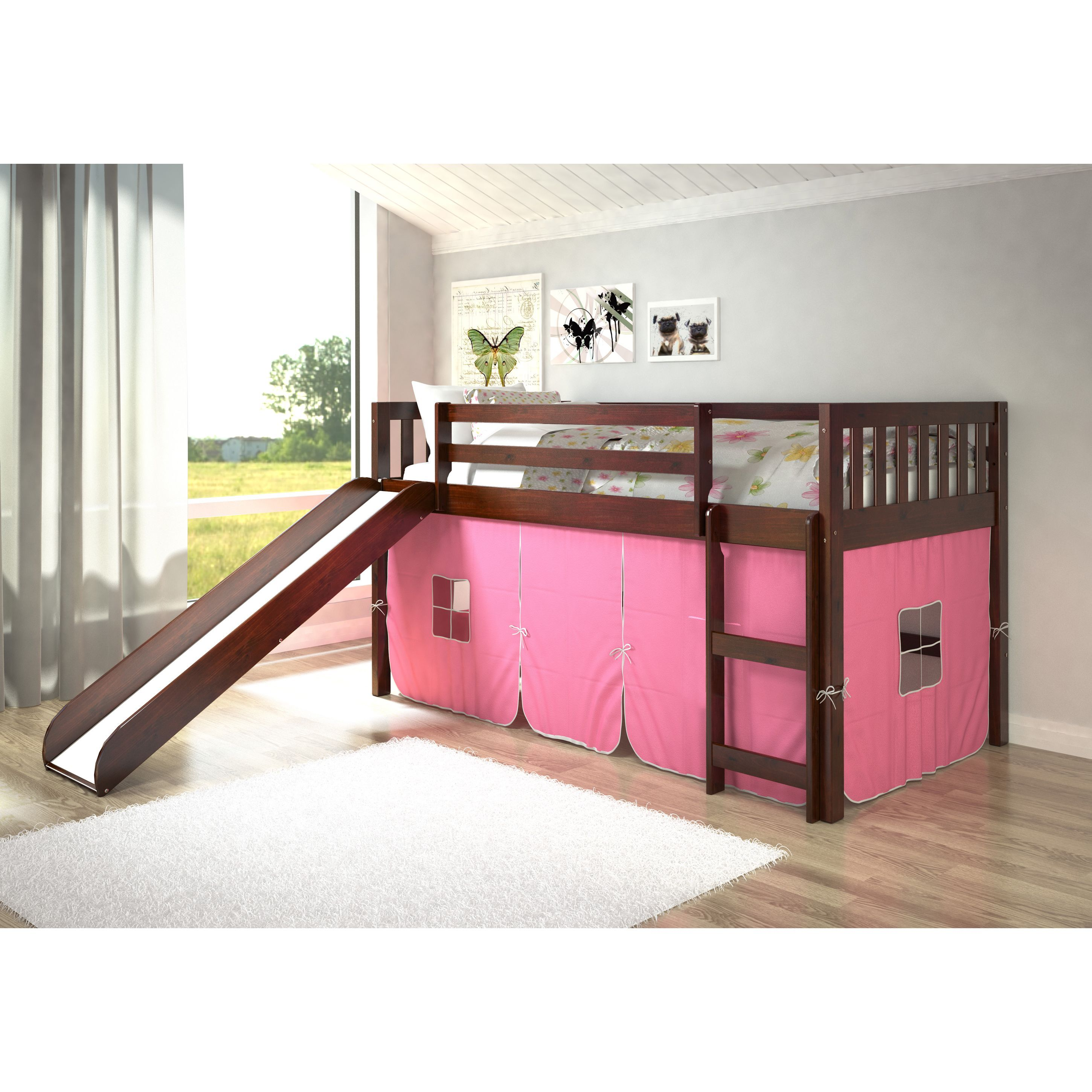Wooden loft bed with slide  Donco Kids Mission Tent Loft Dark Cappuccino Twin Bed with Slide