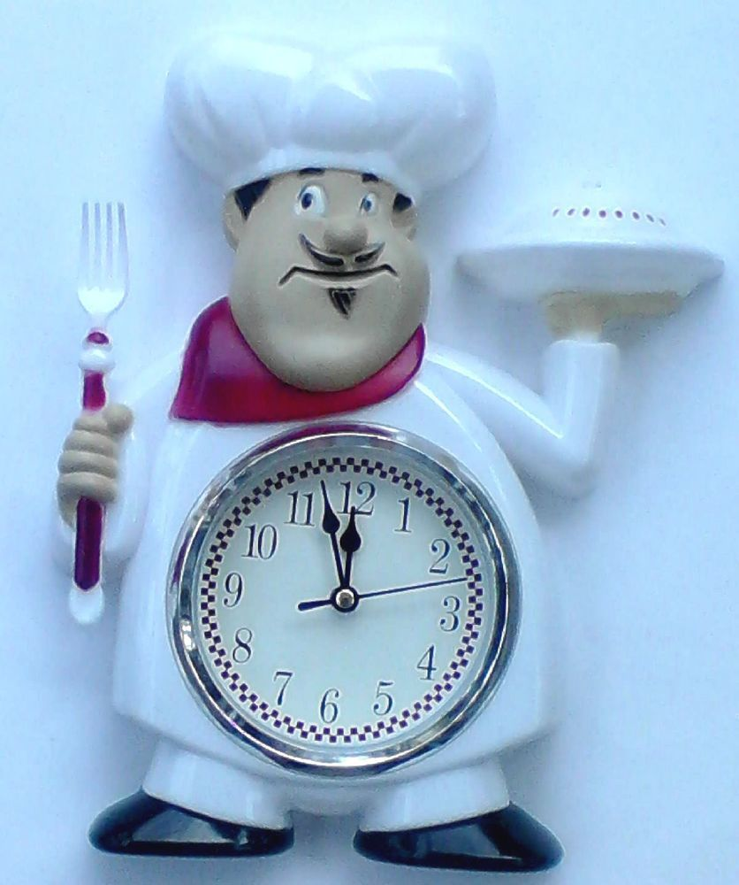 FAT ITALIAN CHEF PIZZA PIE White Black Red 12 hr Clock Kitchen Decor ...