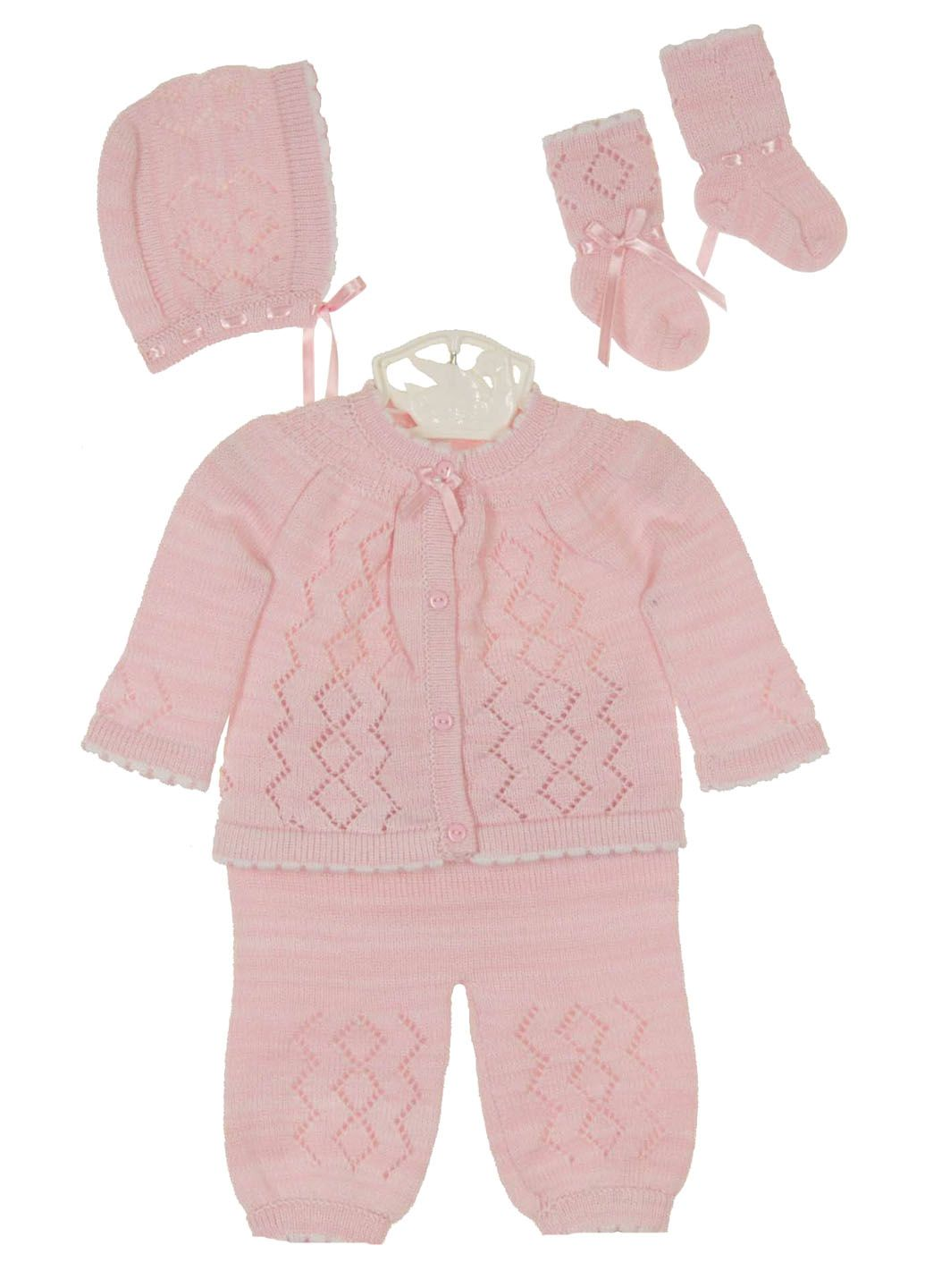 ebd325a66 NEW Will Beth Pink Knit Sweater Set with Matching Hat and Socks ...