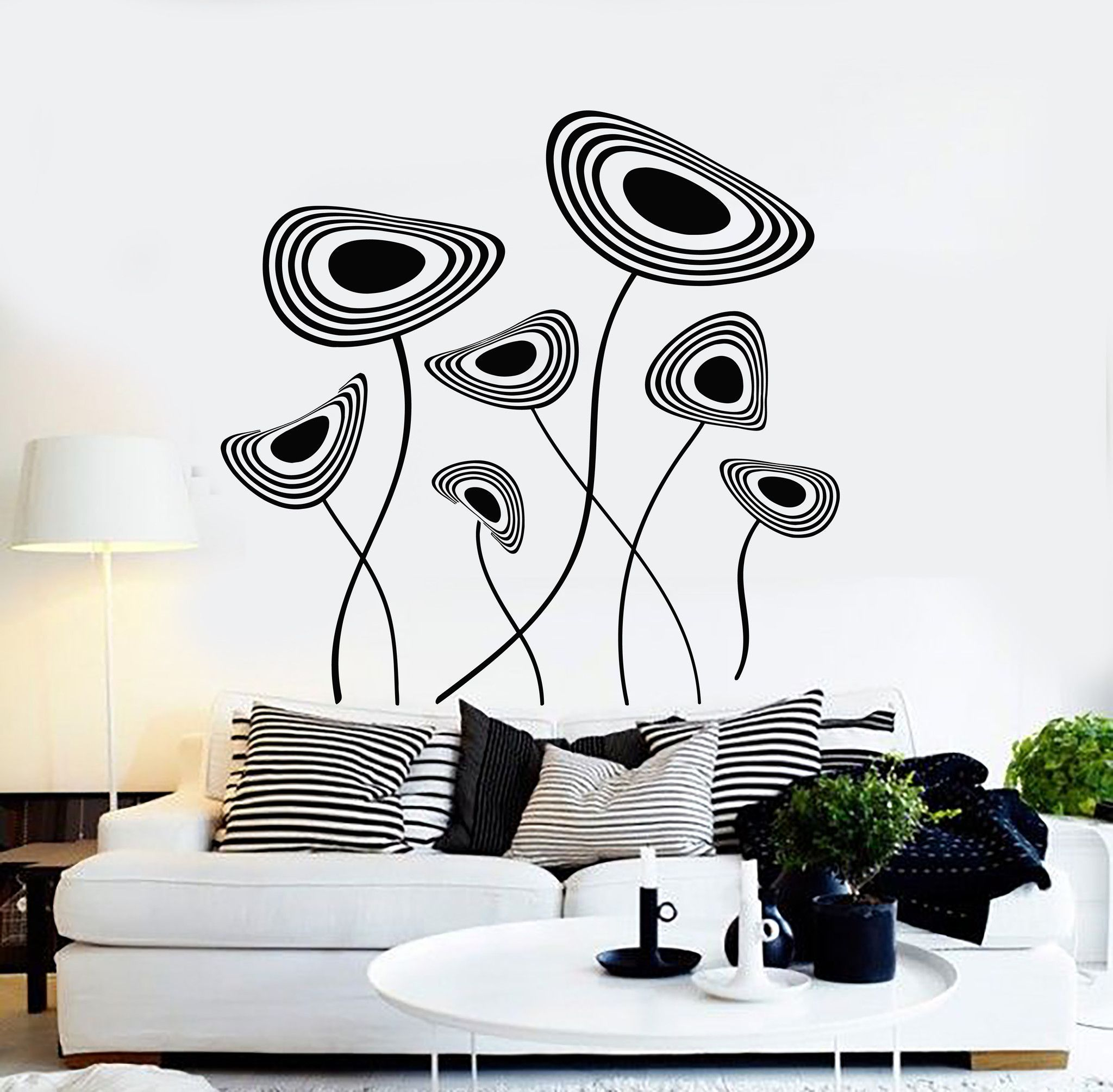 Vinyl Wall Decal Abstract Flowers House Interior Room Art Stickers ...