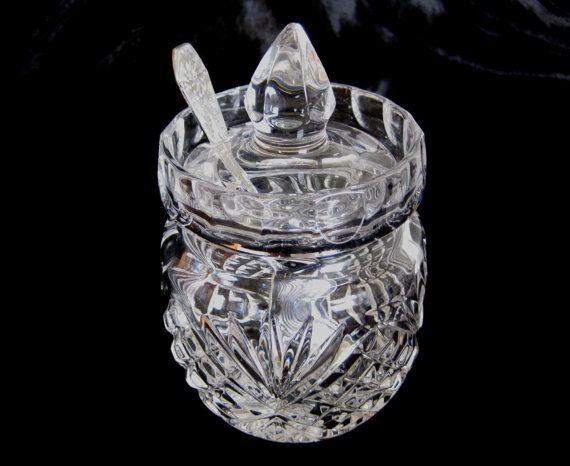 Vintage Crystal Preserves Pot with Spoon by TheWhistlingMan,SOLD