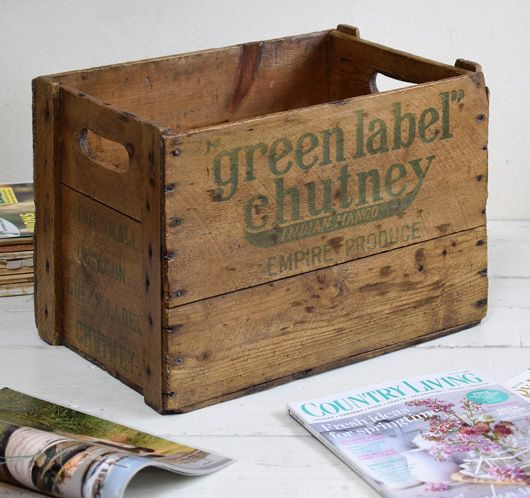 Green Kitchen Kirkman: Vintage Green Label Chutney Wooden Packing Crate, 1930s