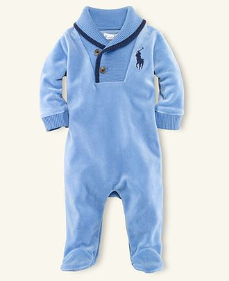 Ralph Lauren Baby Coverall Baby Boys Polo Velour Coverall