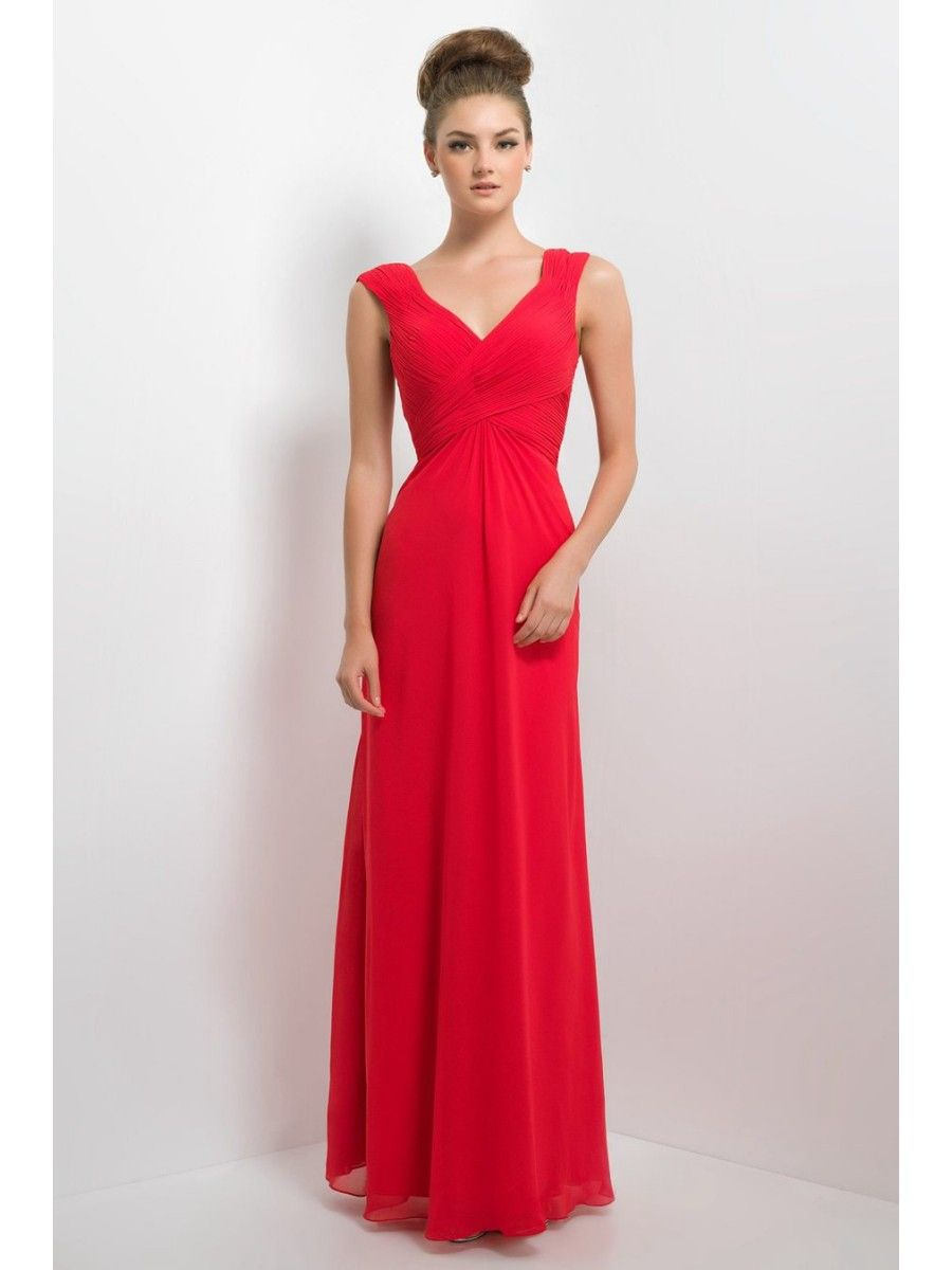 Long red chiffon v neck bridesmaid dresses 1806046 2017 long red chiffon v neck bridesmaid dresses 1806046 ombrellifo Image collections