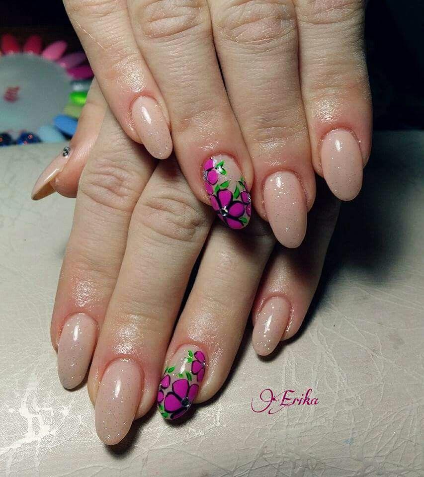 Nail art color violet - Color Carne Glitter Fiori