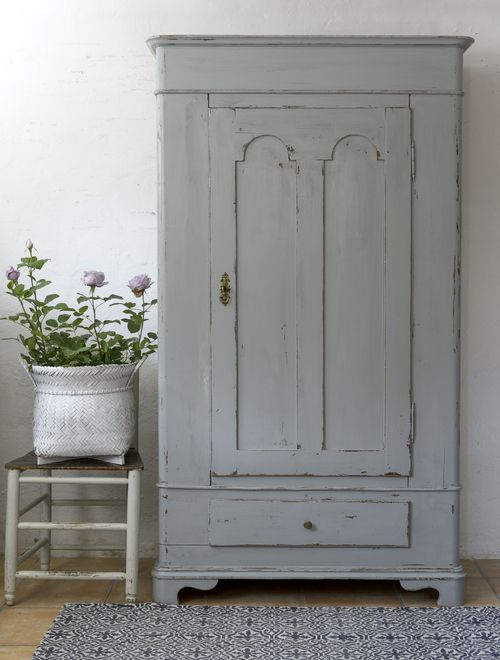 19th Century Distressed Gray Painted Cabinet - what a treasure