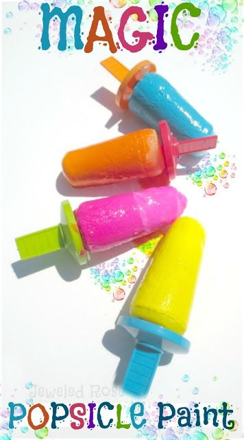 Summer Fun - Funky Frozen Treat Day ~ Growing A Jeweled Rose Beyond Awesome Magic Paint Pops! Washable tempera paint and baking soda and water frozen. Dip into bowls of vinegar for fizzy fun.
