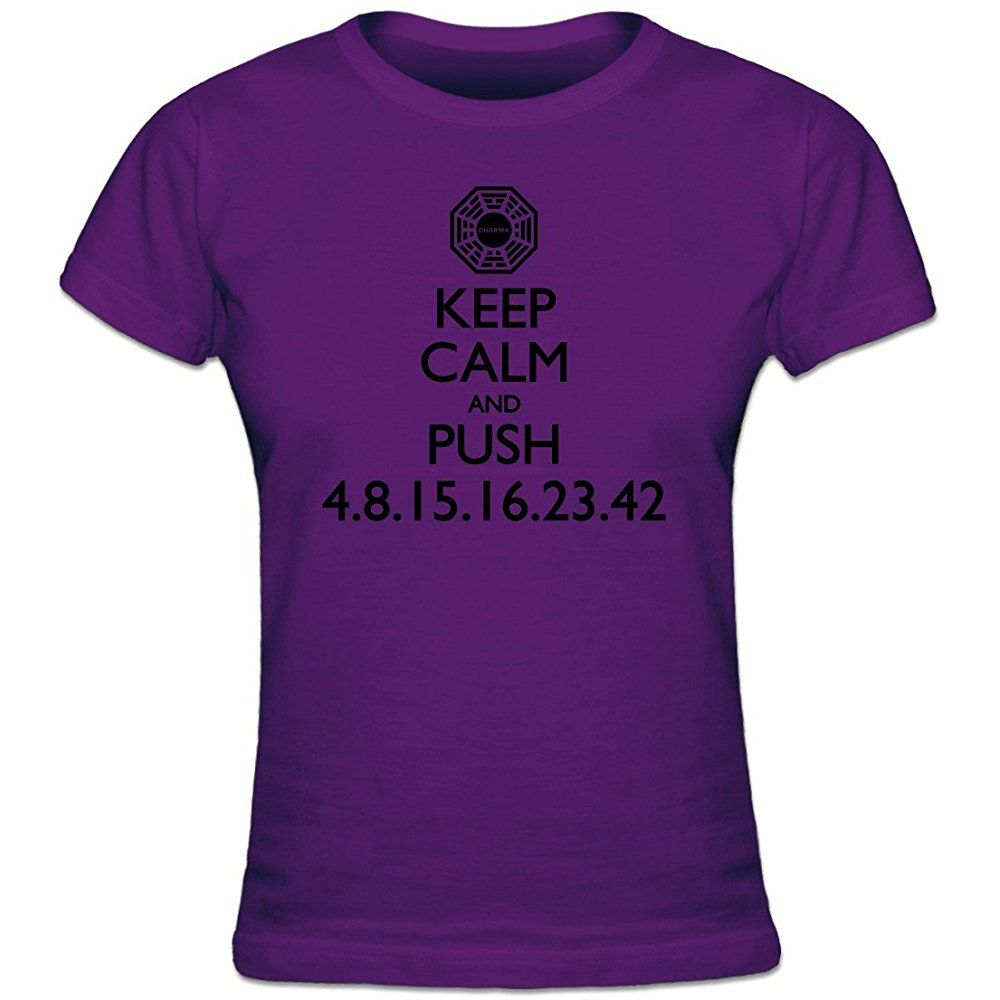 Shirtcity Keep Calm And Push Lost Numbers Womens T Shirt M Purple