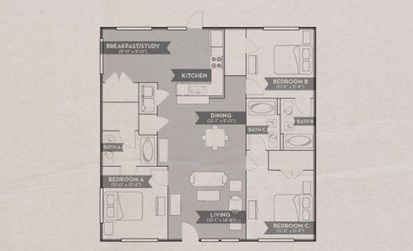 3bed 3bath Flats Floorplan Woodlands Of College Station Floor Plans College Station 4 Bedroom Apartments