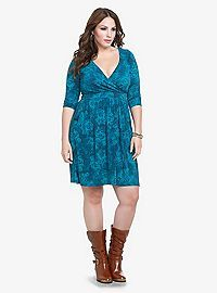 e58c52dc37e51 TORRID.COM - Rose Print Faux Wrap Knit Dress