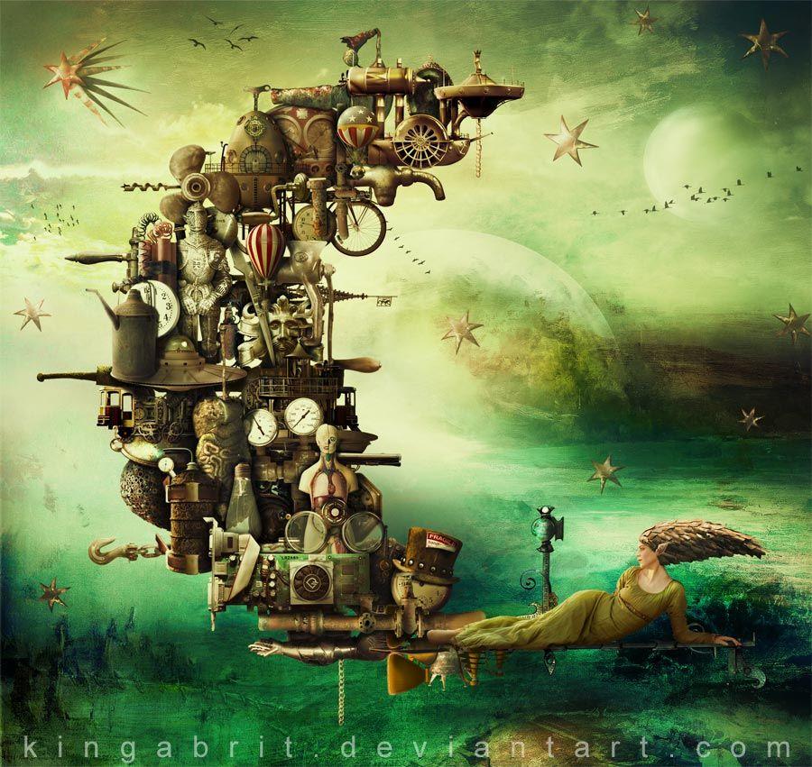 "Kinga Britschgi, ""New Moon Rises"", Digital Art and Photomanipulation, 2012"