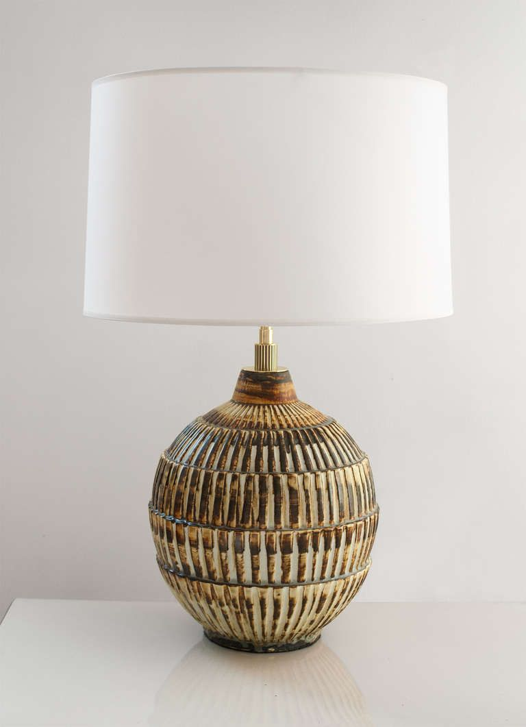 swedish art deco unique studio ceramic lamp by gertrud