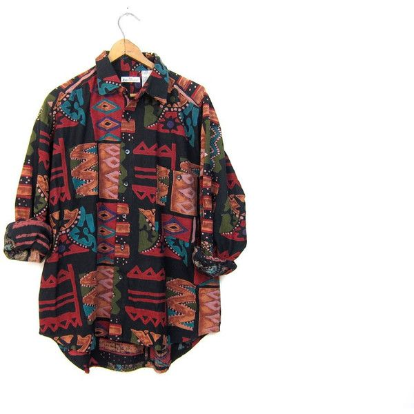 5dc55182 Tribal Print 90s Shirt RAW SILK long Sleeve Ikat Blouse Button Up... ($45)  ❤ liked on Polyvore featuring tops, blouses, white button down shirt, ...