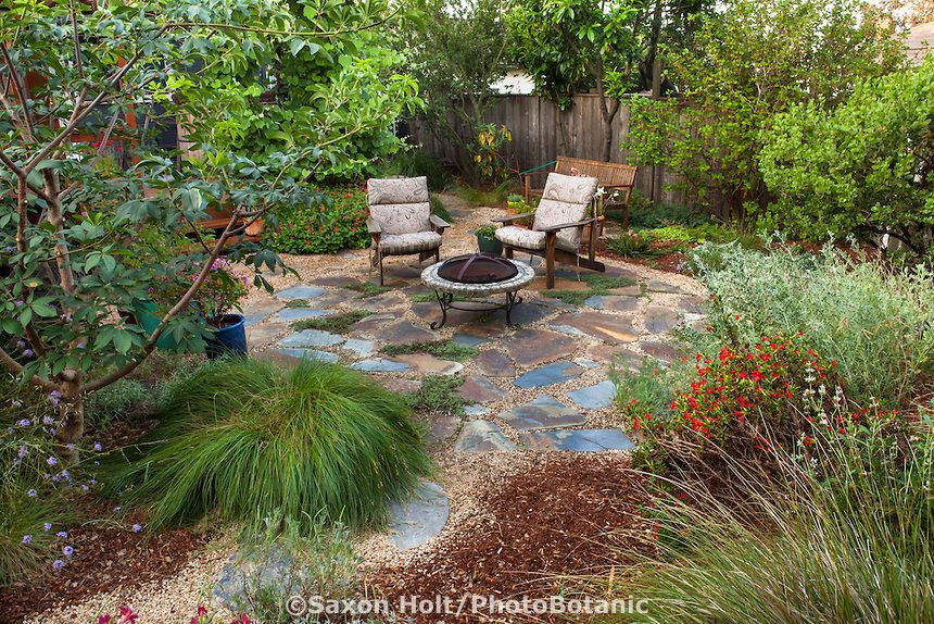 Garden Ideas To Replace Grass path leading to backyard permeable patio with firepit and chairs