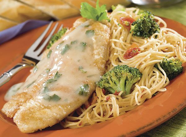 Photo of Tilapia with Lemon Butter Sauce and Angel Hair Fresca