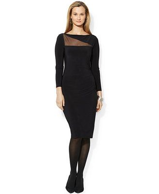 Lauren Ralph Lauren Long-Sleeve Illusion Cutout Dress