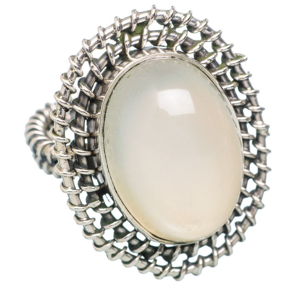 Rainbow Moonstone 925 Sterling Silver Ring Size 7.25 RING733989