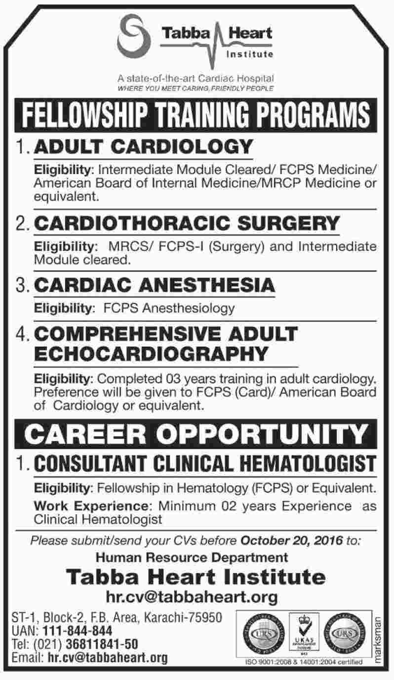 Fellowships Training Programs Jobs Tabba Heart Institute Karachi