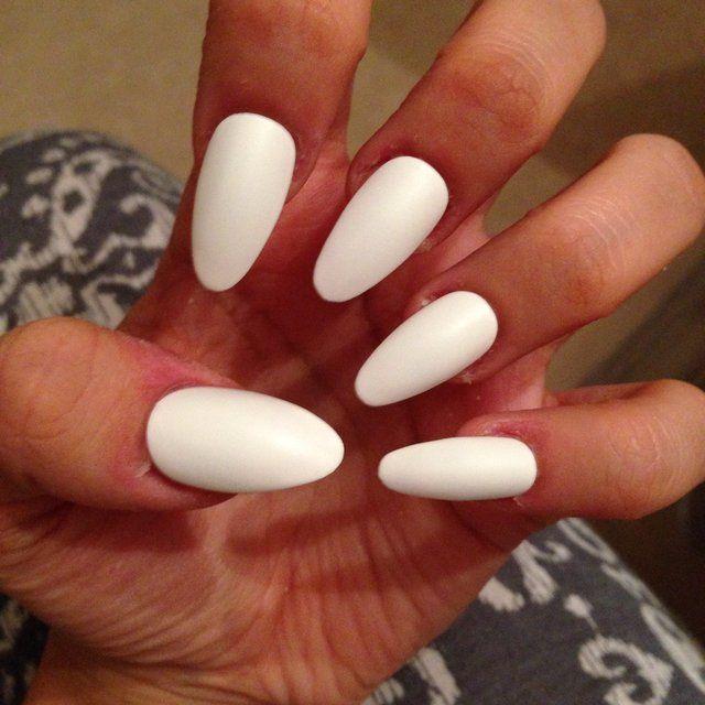 Matte White Nails Oval Acrylic Nails Oval Nails Acrylic Nail Shapes