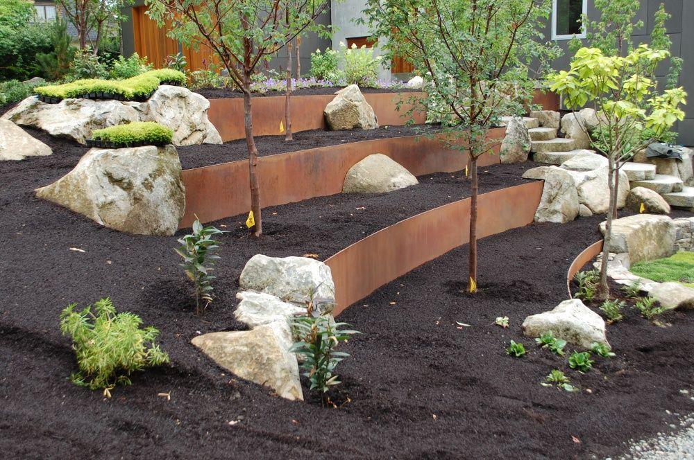 Steel Retaining Wall   Sloped garden, Sloped backyard ... on Retaining Wall Ideas For Sloped Backyard id=41885