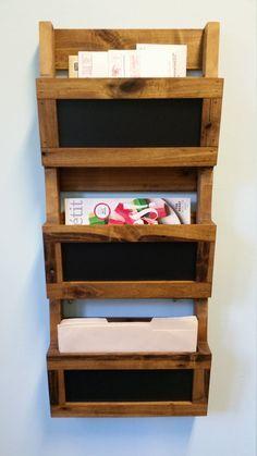 Reclaimed Pallet Wood 3 Pocket Vertical Wall Organizer With Chalkboard.  Mail Holder, File Holder
