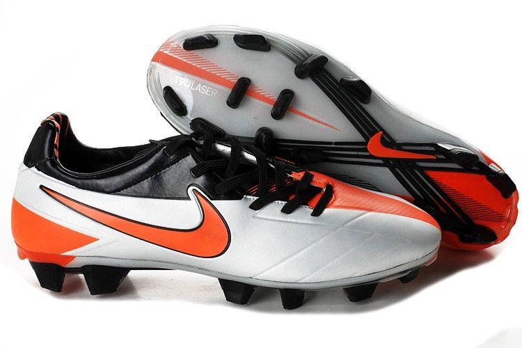 Nike T90 Laser IV FG Cheap Soccer Shoes White Orange Black